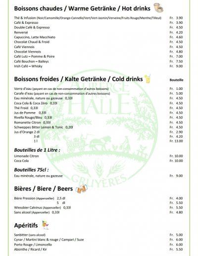 Auberge de la Halle Gruyères carte des boissons